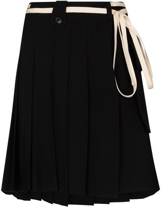 Plan C Pleated Belted Mini Skirt