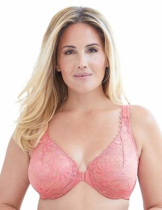 Glamorise Women's Plus Size Full Figure Wonderwire Front Close Stretch Lace Bra #9245 Apricot