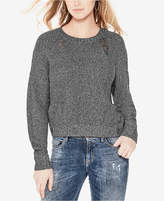 GUESS Destroyed Marled Shine Chunky Sweater