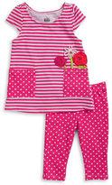 Kids Headquarters Girls 2-6x Little Girls Striped Tunic and Polka Dot Leggings Set