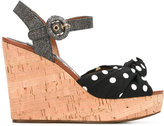 Dolce & Gabbana polka dot wedge sandals - women - Cork/Cotton/Leather/Straw - 36.5