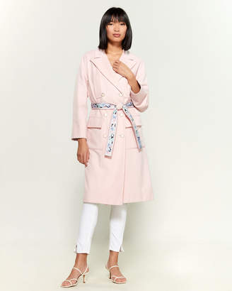 Leonard Pink Floral-Lined Double-Breasted Wool Coat