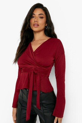 boohoo Crepe Split Sleeve Ruffle Shoulder Top