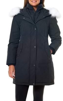 1 Madison Hooded Genuine Fur Trim Parka
