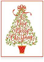 Caspari Embossed Christmas Tree Christmas Cards, Box of 10