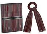 J By Jasper Conran Red Pure Wool Striped Scarf In A Gift Box