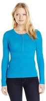 Ellen Tracy Women's Petite Directional Rib Half Zip Sweater
