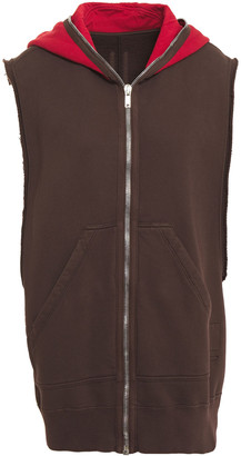 Rick Owens Two-tone Cotton-fleece Hooded Vest