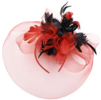 Caprilite Feather Flower Fascinator Hat Veil Net Headband Clip Ascot Derby Races Wedding (Red and Black)
