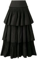Alberta Ferretti pleated ruffle skirt - women - Cotton/Polyester - 38