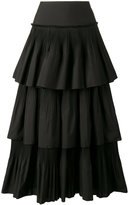 Alberta Ferretti pleated ruffle skirt - women - Cotton/Polyester - 46