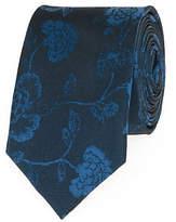 Le Château Floral Print Silk Skinny Tie