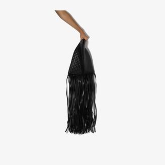Bottega Veneta black Fringe Crisscross leather clutch bag