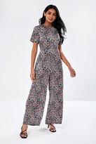 Iclothing iClothing Bari Short Sleeve jumpsuit in Pink Teal Print