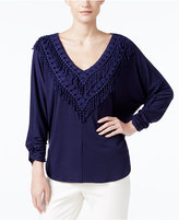NY Collection Crochet Fringe-Trim Peasant Top