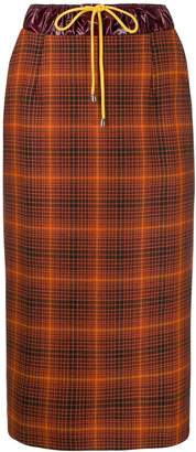 Aalto high-waist drawstring check skirt