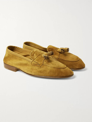 Edward Green Portland Leather-Trimmed Suede Tasselled Loafers - Men - Yellow