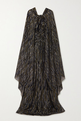 Peter Pilotto Cape-effect Silk And Lurex-blend Jacquard Gown - Black