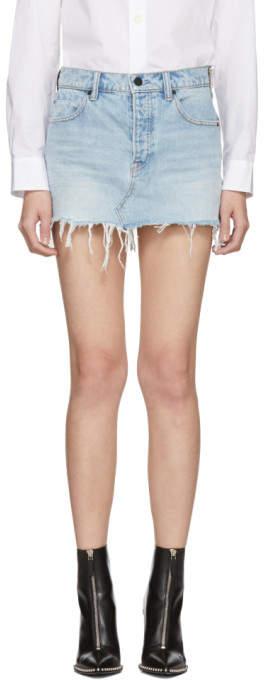 Alexander Wang Blue Denim Five-Pocket Zip Miniskirt