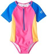 Speedo Girls' Learn To Swim Short Sleeve Zip One Piece Swimsuit (12mos3T) - 8154765