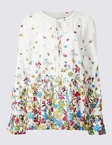 Per Una Floral Print Lace Detail Long Sleeve Blouse