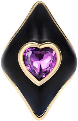 Noor Fares 18K Yellow Gold Bibi Ring with Amethyst and Black Enamel