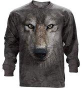The Mountain Wolf Face USA Long Sleeve T-Shirt