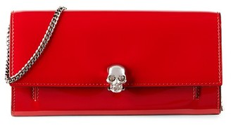 Alexander McQueen Skull Patent Leather Wallet-On-Chain