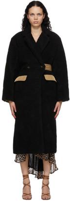Ganni Black Wool Teddy Coat