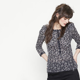 Maje Printed top with lace-style openwork