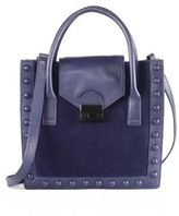 Loeffler Randall Jr Studded Leather & Suede Work Tote