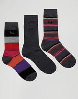 Pringle Wide Stripe Socks In 3 Pack Gray