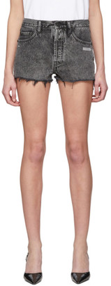 Off-White Grey Bleached Denim Shorts