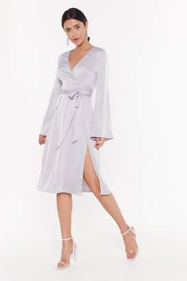 Nasty Gal Womens Call in Slick Satin Midi Dress - grey - 8