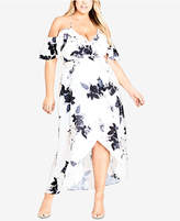 City Chic Trendy Plus Size Cold-Shoulder High-Low Dress