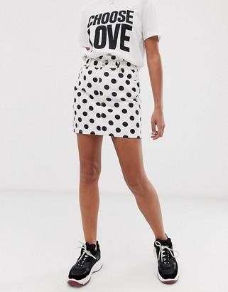 Signature 8 polka dot denim mini skirt with paper bag waist