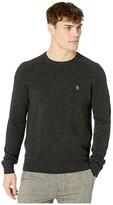 Original Penguin Lambswool Crew Neck Long Sleeve Sweater (Dark Charcoal Heather) Men's Clothing