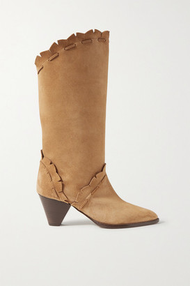 Isabel Marant Leesta Scalloped Topstitched Suede Boots - Tan