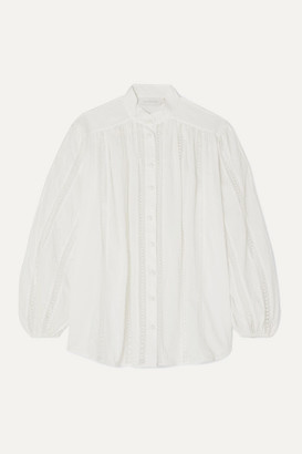 Zimmermann Suraya Lace-trimmed Swiss-dot Cotton-voile Blouse - Ivory