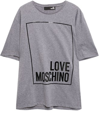 Love Moschino Patent-trimmed Logo-print Cotton-jersey T-shirt