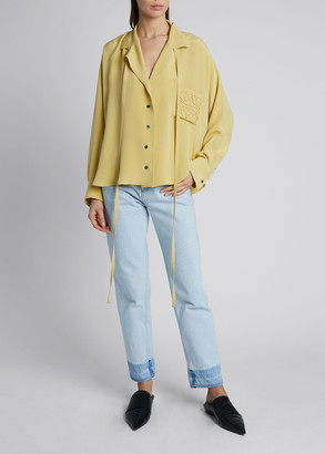 Loewe Satin Long-Sleeve Anagram Pajama Blouse