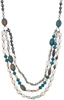 ADORNIA Triple Layer Necklace with Green Agate, 4-9mm Freshwater Pearl, Hematite And Crystal Silver