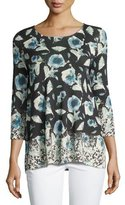 Neiman Marcus Superfine Poppy 3/4-Sleeve Tunic