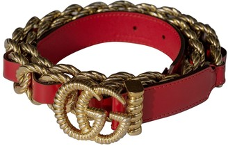 Gucci GG Buckle Red Chain Belts