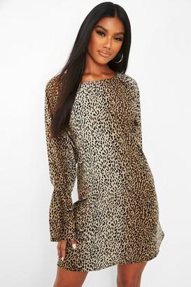 boohoo Leopard Print Flared Sleeve Shift Dress