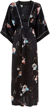 MENG Black Floral Silk Satin Kaftan Dress