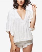 Free People Get Over It Embellished Split-Neck Top