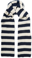 J.Crew Striped Ribbed Cashmere Scarf - Storm blue