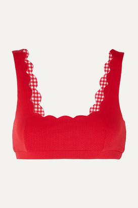 Marysia Swim Palm Springs Scalloped Stretch-crepe Bikini Top - Red