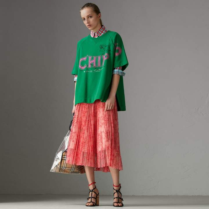 Burberry Pleated Lace Skirt